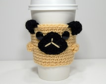 Pugsly the Coffee Cozy //MADE TO ORDER// Cute Coffee Sleeve, Pug Gift, Reusable Coffee Sleeve, Dog Lover Gift