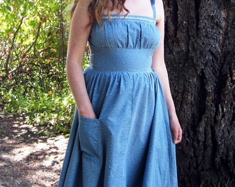 sundress Blue cotton handmade in California M