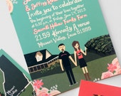Invite Card, RSVP, & Map/Reception Card : Custom Illustrated Wedding Invitations