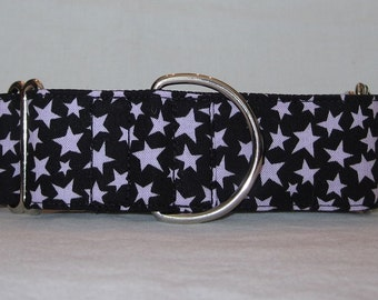 SALE Lavender Star Martingale Dog Collar - 1.5 Inch - purple starry night black halloween summer astronomy planetary