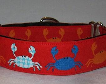 Crabby Martingale Dog Collar - 1.5 Inch - fun ocean blue houndstooth red crab crustacean foodie orange nautical