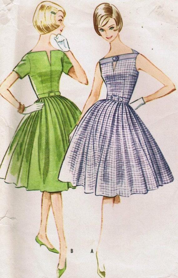 1960s Fit & Flare Princess Seam Slit Bateau Keyhole Neckline Full Skirt McCall's 5784 Uncut FF Size 14 Bust 34 Women Vintage Sewing Pattern