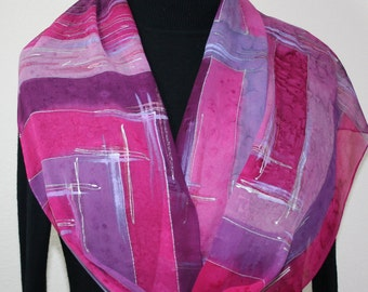 Pink Silk Scarf. Lavender Handpainted Silk Scarf. Handmade Silk Shawl SWEET ROMANCE, in Several SIZES. Anniversary Gift, Mother Gift.