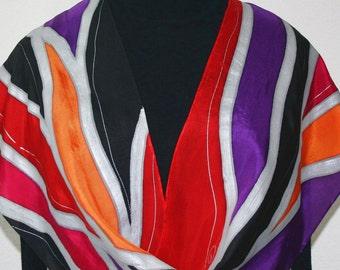 Silk Scarf Handpainted Orange, Berry, Black Silk Shawl LOVE PAIN, in 3 SIZES. Anniversary Gift, Mother Gift. Christmas Gift