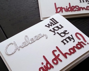 Two Tone Personalized Will You Be My Bridesmaid, Flower Girl, Maid and Matron of Honor -- customized wedding party card