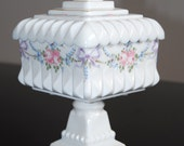 Covered Square Pedestal Dish, Vintage Milk Glass, Painted Pink Roses & Bows, Westmoreland