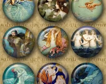 VINTAGE MERMAID 1 inch circles - Digital Printable art collage sheet for Pendants Magnets Crafts...Little Mermaids Sea Sprites Harpies