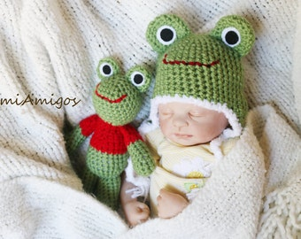 Crochet Newborn Froggy Gift Set (Newborn Size Hat & Stuffed Animal)