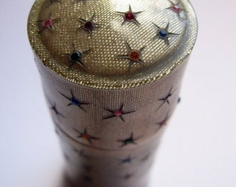 deco ladies vintage celluloid rhinestone star cylindrical container