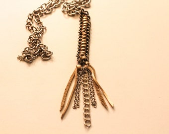 Gold Leather Chain Necklace