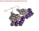 Chandelier Earrings, Pearl Tear Drop Earrings, 1.75 Inch Earrings, Available Colors, Select Ear Wires
