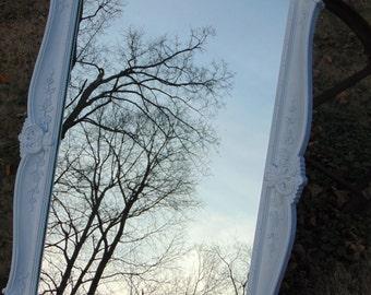 Ornate Mirror, White Mirror, Baroque Mirror, Vintage Mirror,Nursery Mirror, Beach Cottage, Shabby Chic