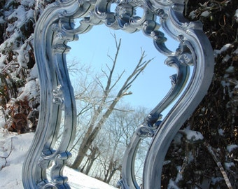 ORNATE Mirror, Silver Mirror, Curvy Corset Design Wall Mirror , Large 35 x24 ,Buy as Shown or Choose Color