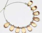 Champagne Quartz Faceted Tear Drop Briolette Beads, 10 beads, 10x5mm, SKU8828/S