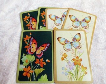6 Butterfly & Flowers Vintage Playing Cards, Hallmark