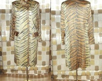 Vintage 60s Jacket | 1960s Rain Coat | Tiger Print Trench Jacket |All Weather Coat | Rain-Paka Folds Into A Tote Bag |  14 L /XL