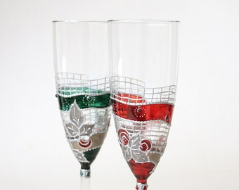 Champagne Flute, WEdding Glasses, Toasting Glasses, Hand Painted, Set of 2