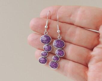 Purple Drop Earrings, Sparkly Glitter Resin Earrings, Long Dropper Earrings, Resin Jewelry Jewellery, Purple Jewellery, UK (1023)