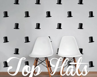 Top Hats Wall Decal Pack, Vinyl Wall Sticker Decal Art Pattern WAL-2184