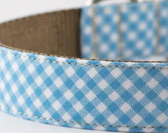 Pastel Blue Gingham Dog Collar