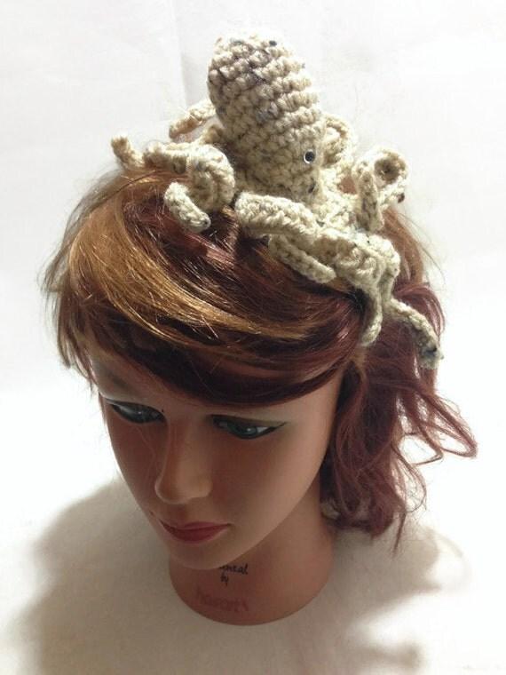 Crochet Octopus Headband Tan Amigurumi Octopus on Metal