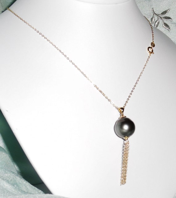 """HUGE 16mm Gray Tahitian Cultured Pearl, Solid 14kt Yellow Gold Tassel 18"""" Chain Necklace"""