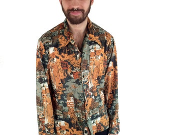 70's Psychedelic Print Button-Up - XL