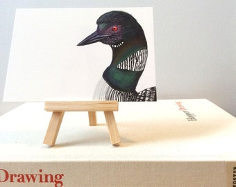 Common Loon Art Print, Wildlife Illustration, Digital Bird Drawing, Mail Postcard  CL