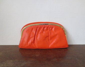 80s Does 60s Bright Orange Leather Clutch