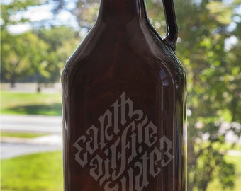 Earth Air Fire Water Ambrigram Flipped 64 oz Etched Glass Beer Growler with Handle and Customizable Text Elements Upside Down Quote Script