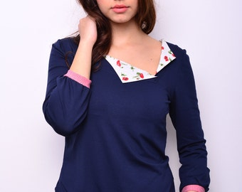blue jersey shirt - flowers