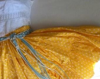 Canary Yellow Pin Up Girl Swing Skirt.  Rockabilly Full Circle Skirt. Boho Chic. Skater Girl. Polka Dots. Crochet Lace Crop Top.