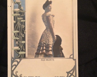 Art Nouveau French Postcard - Woman - Suz Munte - Opera - Water Lilies - Swans