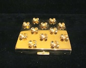 Vintage Compact Paul Flato Powder Mirror Compact Gold Plated Rhinestone Dogwood Blossoms 1940s Excellent Condition
