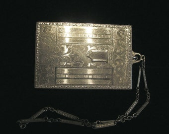 1910's Silver Compact Purse Vintage Compact Wristlet Purse Mirror Powder Rouge Lipstick EXCELLENT CONDITION