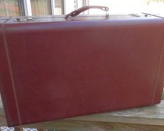 Vintage Reddish Brown Large Suitcase - Vintage Brown Luggage 1950's Style