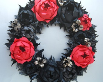 Black and Red Goth Wreath Halloween Holiday Wreath