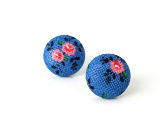 Vintage style button earrings - blue fabric earrings -  tiny floral stud earrings - romantic post earrings - pink white