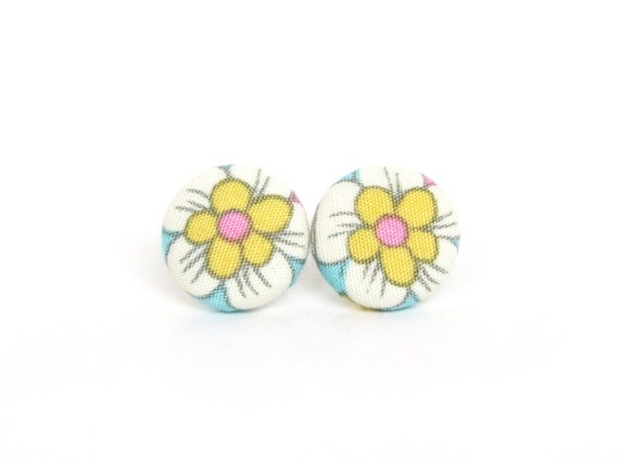 Bright stud earrings - happy fabric button earrings - blue white yellow pink flowers