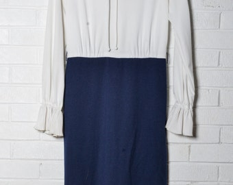 Vintage Navy Pleated Dress Womens White Ruffles
