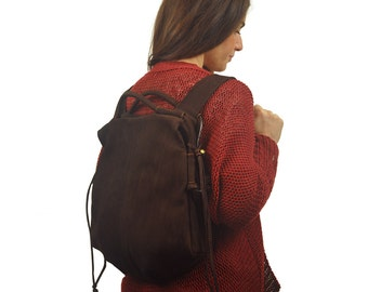 Handmade leather backpack - Katerina in brown Nubuck, MADE TO ORDER