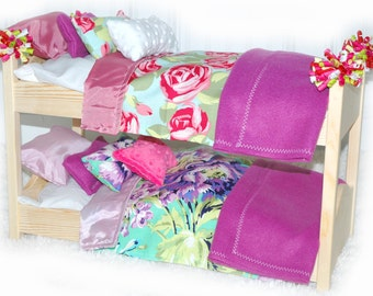 Double Doll Bunk Bed - Rose Garden American Girl Furniture - Fits 18 inch dolls and AG dolls
