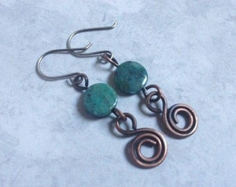 Copper Earrings Chrysoprase Dangle Earrings Sterling Ear Wires Handmade Jewelry