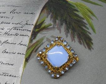 Vintage CZECHO Blue Moonglow Square Rhinestone Brooch