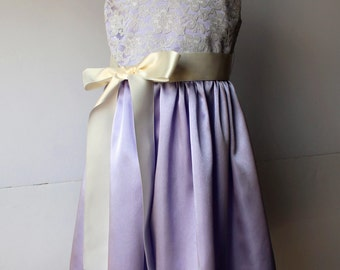 Satin and Lace Flower Girl Dress, Lavender Girl Sizes 2T-14, Wedding, Easter, Birthday, Princess