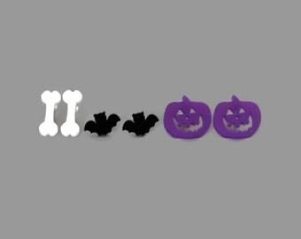 Laser Cut Acrylic Bat Bone Jack O' Lantern Earrings Halloween Set