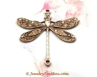 Antique Copper Dragonfly Pendant Charm Connector, 24x24mm, 2 Loops, Brass Stamping, Large, Made in USA, Lot Sizes 4 to 24, #05C