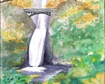 Multnomah Falls Watercolor Painting Poster Print, Waterfalls of Oregon Columbia River Watercolor Painting, Oregon Waterfall Bridge Painting