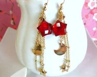 Red quartz star moon gold filled tassle earrings, Sailor moon red star moon earrings, Christmas north star chain tassle gold filled earrings