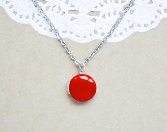 Ruby Red Enamel Locket - Photo Locket Necklace